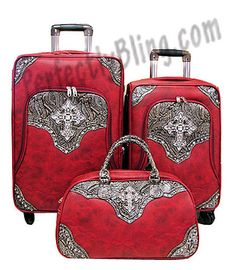 3 Piece Western Cross Luggage - Red $219.99 *Sale*