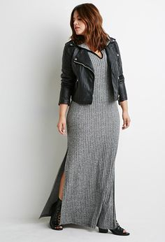Plus Size FOREVER 21+ Hooded High-Slit Midi Dress