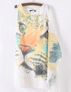 Leopard Head Print Irregular T_shirt