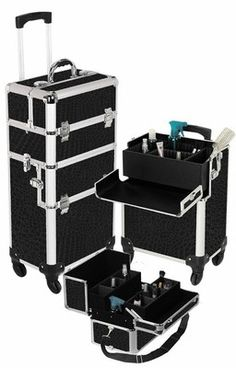 2 in 1 Rolling Makeup Cosmetic Train Case Kit Hair Stylist 4-Wheel Black with lock....so need this when traveling!