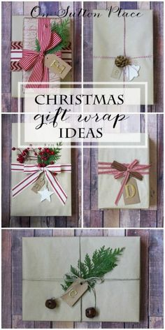 Christmas Gift Wrapping Ideas including kraft paper, twine and ribbon. All Things Christmas, Christmas Holidays, Christmas Crafts, Christmas Decorations, Simple Christmas, Creative Gift Wrapping, Present Wrapping, Wrapping Ideas, Birthday Care Packages