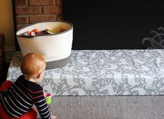 diy padded hearth cover for baby proofing                              …