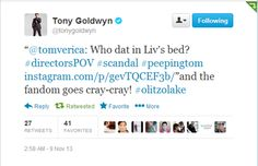 "@tonygoldwyn @tomverica  Who dat in Liv's bed? #directorsPOV #scandal @Scott Doorley Foley #peepingtom instagram.com/""and the fandom goes cray-cray! #olitzolake"