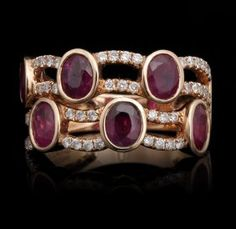 $550   Feb 8 2013 18KT Rose Gold 2.25ctw Ruby and Diamond Ring FJM2505