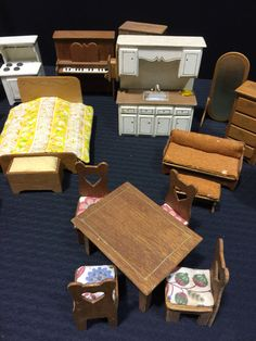 LARGE LOT OF ASSORTED WOOD DOLLHOUSE FURNITURE.