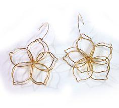 Handmade Yellow Gold wire Large Flower drop Earrings #scottsmarketplace