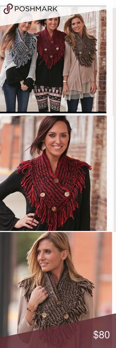 Crochet Button Shawl-Coming 10/28!! Gorgeous crochet shawls featuring hand stitch, and stylish buttons. One Size fits most, only 3 available. Please be sure to choose your color at check out!! Price if firm unless bundled Bellamisu Boutique Accessories Scarves & Wraps