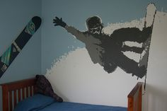 Snowboarder mural