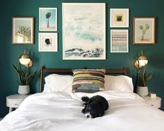In this article, we have compiled the beautiful decoration examples for Dark Green Bedroom Walls. Be inspired by styles, trends & decorating advice to make your home a place where everyone admiring. Green Bedroom Walls, Green Accent Walls, Accent Wall Colors, Green Bedroom Colors, Green Master Bedroom, Green Bedrooms, Wall Colors For Bedroom, Quotes For Bedroom Wall, Colors For Bedrooms
