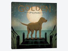 "Moonrise Yellow Dog Golden Pond by Ryan Fowler Canvas Print 37"" L x 37"" H x 0.75"" D"