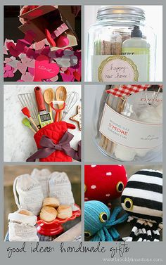 DIY Handmade Gifts... very cute! Good Idea! ***1. send a heart attack  ***2. housewarming jar,   ***3. for the baker,   ***4. for s'more summer fun,   ***5. grandma's biscuits,  ***6. socktopus (or is it socktopi?),