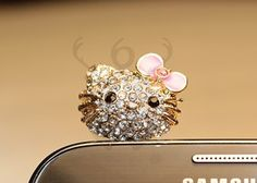 Hello Kitty Crystal Bling Earphone Dust Plug Stopper Blackberry Q10 Verizon at T | eBay