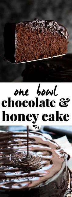 This is the best easy recipe for homemade chocolate honey cake. The simple batter is made entirely from scratch and can be whipped up in just one bowl. The super moist cake is then covered in ganache frosting to turn it into a decadent birthday treat. Homemade Desserts, Homemade Cakes, Easy Desserts, Delicious Desserts, Baking Recipes, Cake Recipes, Dessert Recipes, Homemade Chocolate, Chocolate Recipes