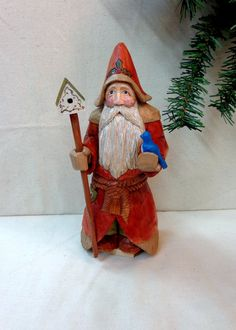 Santa hand carved wood sculpture with bird by WeAreOutofOurGourds #handcarvedsanta#woodsculpture