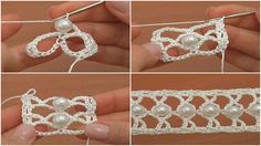 How to Crochet a Beaded Narrow Tape - Tutorial | ☂ᙓᖇᗴᔕᗩ ᖇᙓᔕ☂ᙓᘐᘎᓮ http://www.pinterest.com/teretegui