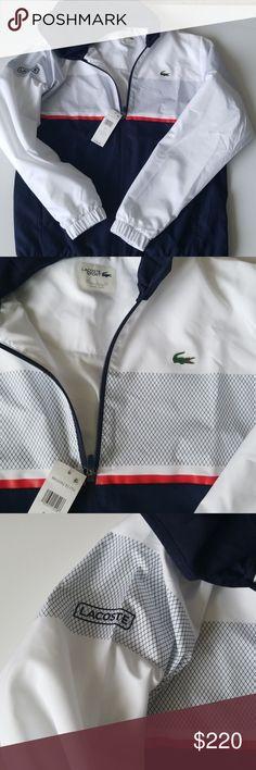 Lacoste Sport Jacket & Pants Combo Size Large  100% Polyester  Color white/navy blue/ etna-red  LIGHT WEIGHT SPORT JACKET AND PANTS lacoste Jackets & Coats Lightweight & Shirt Jackets