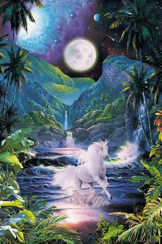 unicorn under moon Fantasy art for sale at Toperfect gallery. Buy the unicorn under moon Fantasy oil painting in Factory Price. All Paintings are Satisfaction Guaranteed Fantasy Unicorn, Unicorn And Fairies, Unicorns And Mermaids, Unicorn Art, Magical Unicorn, Unicorn Crafts, Unicorn Quotes, Unicorn Makeup, Rainbow Unicorn