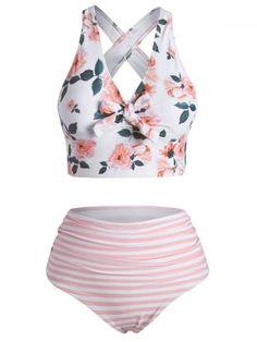 OFF] Striped Sunflower Print One Shoulder Flounce Overlay Tankini Swimwear Swimwear Fashion, Bikini Swimwear, Bikini Set, Trendy Clothes For Women, Trendy Outfits, Girly Outfits, Cute Swimsuits, Revealing Swimsuits, Women Swimsuits