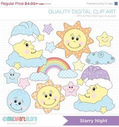 BLACK FRIDAY SALE - Starry Night / Baby Dreams / Sun, Moon, Stars Clip Art / Digital Clipart - Instant Download
