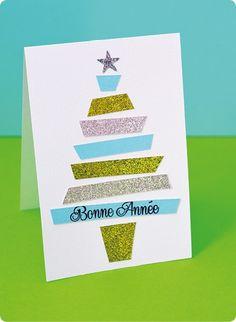 10 Cartes de Vœux Paillettes