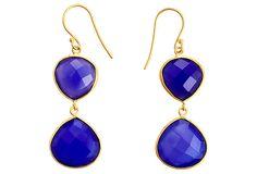 Double Drop Earrings, Blue Chalcedony on OneKingsLane.com hello $18