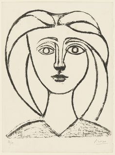 Pablo Picasso / Long-Haired Young Girl (Jeune fille aux grands cheveux), state six / 1945 / Lithograph