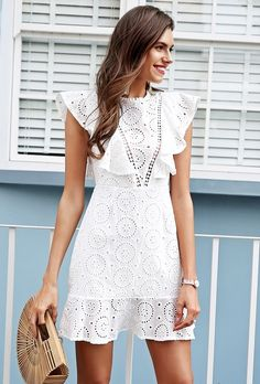 Amazing white lace mini everyday ruffle summer dress cotton bohemian party  boho 518be5b1d6d9