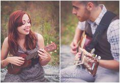 Millbury, MA Engagement Photographer Inspiration Music Guitar Ukelele Fun Couple