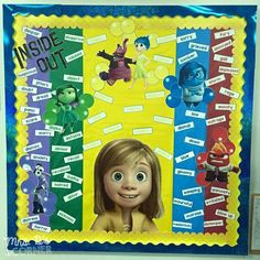 Inside Out bulletin board (includes a freebie) - Learning about our Emotions: Inside and Out School Displays, Classroom Displays, Classroom Themes, Class Displays, Book Displays, Autism Classroom, Library Displays, Future Classroom, Health Bulletin Boards