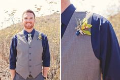 Groom in a blue shirt, grey vest, and bright yellow orchid boutonniere