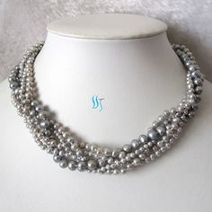 Gray Pearl Necklace - 18 inches 5 Row 3-7mm Gray Freshwater Pearl Necklace - Free shipping. $31.00, via Etsy.