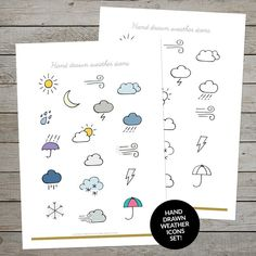 A gorgeous set of handdrawn printable weather icons. Make stickers or draw in your bullet journal or planner. #weathericons #handdrawnweather #handdrawnweathericons #bulletjournal #planner #bulletjournaling #weatherstickers