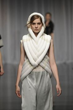 Sculptural 3D Fashion with soft padded tube structure; experimental fashion construction // Wonjee Chung