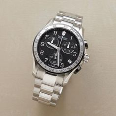 VICTORINOX SWISS ARMY® CHRONO CLASSIC IN BLACK--Yet again, Victorinox Swiss Army® delivers on its promise of good looks and precision engineering. Features include a tachymeter, date display and chronograph. Swiss quartz movement