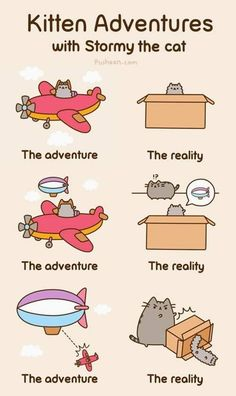 Kitty Adventures with Stormy the Cat and Pusheen Gato Pusheen, Pusheen Love, Pusheen Stuff, Cat Comics, Funny Comics, Pusheen Stormy, Image Chat, Funny Comic Strips, Online Comics