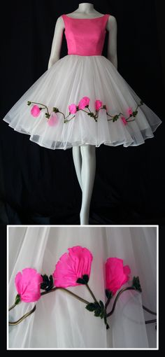 Gorgeous ultra-feminine 1950s  prom dress with floral applique on  chiffon skirt