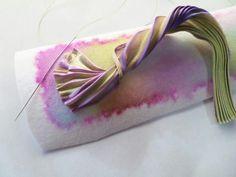 Photo tutorial for shibori beadwoven cuff on Erlinda Mersino's Pinterest shibori board