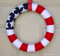 American Flag Yarn wreath Military wreath Memorial by peonyplush, $29.95