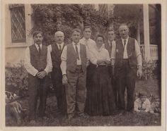 Old Vintage Antique Photograph Group of People Children on Ground Puppy Dog