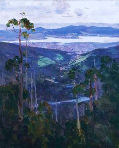 Australian Impressionist Painter Arthur Streeton Hobart from the Slopes of Mount Wellington SO pretty Australian Painting, Australian Artists, Nocturne, Landscape Art, Landscape Paintings, Landscape Illustration, Landscape Photos, Impressionist Paintings, Oil Paintings