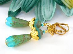 Gold and Turquoise Dangle Earrings by BlondePeachJewelry on Etsy
