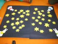 'sterren plukken', rollen met de dobbelsteen, evenveel sterren plukken als bolletjes die bovenaan de dobbelsteen liggen.  Wie heeft de meeste sterren verzameld?