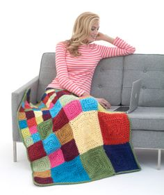 super gorgeous crocheted Bright Squares Afghan pattern from lionbrand- they say it comes together really quickly!