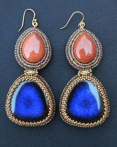 ~~Just arrived in my mailbox and they are spectacular! Golden Sandstone & Ceramic Lapis Large Earrings by Faria Siddiqui. Looking forward to wearing them. Thank you Faria!~~