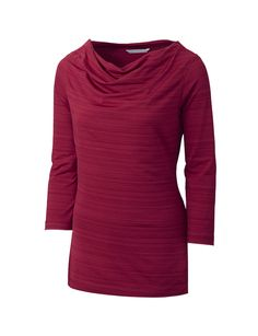 Cutter & Buck - Ladies drytec 3/4 sleeve highland park cowl. 94% Polyester, 6% Spandex, Tonal striped jersey , Cowl neckline, Straight hem, Open sleeves, C&B Pennant at left sleeve hem, Moisture wicking
