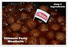 Ultimate Party Meatballs CrockPot Recipe -- Heinz Chili Sauce, Ocean Spray Jellied Cranberry Sauce, Johnsonville Classic Italian Meatballs