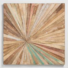 Antiqued Sunburst Wood Panel Wall Decor / World Market