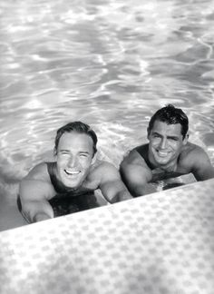 Randolph Scott and Cary Grant in the pool, 1936. They shared a house at the time.