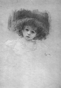 Gustav Klimt, Half-length portrait of a little girl from the front (Study for 'love') 1895