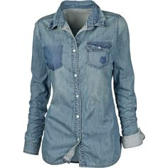Javen Denim Shirt ($20) ❤ liked on Polyvore featuring tops, blouses, shirts, blusas, women, blue blouse, button shirt, button collar shirt, studded collar shirt and collared shirt
